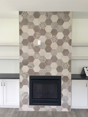 hexagon tile fireplace surround