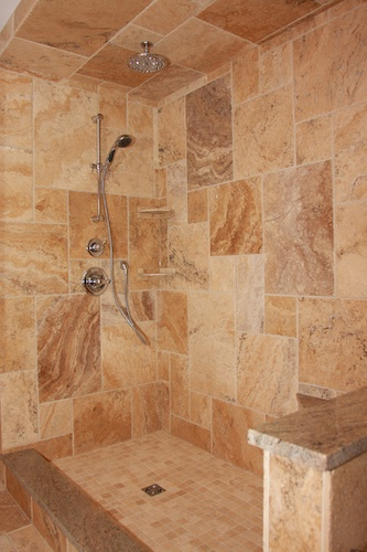 marble ashlar shower installation