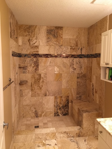 marble shower installation